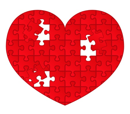 Vector red heart of puzzle pieces Stock Vector - 10518262