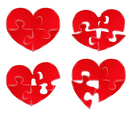 Vector Red Heart Puzzles Vector