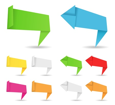 Vector origami banners en pijlen