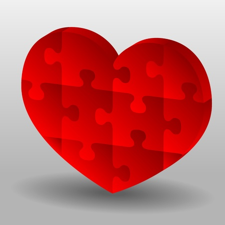 Red puzzle heart on gray background Vector