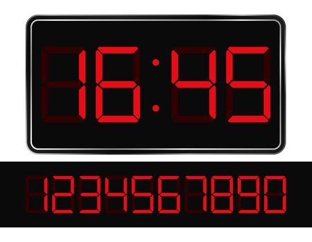 digital timer: Vector Red Digital Clock Illustration
