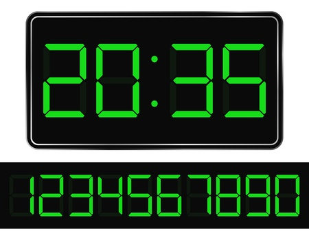 digital number: Vector Green Digital Clock