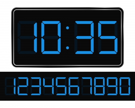 digital number: Vector Blue Digital Clock