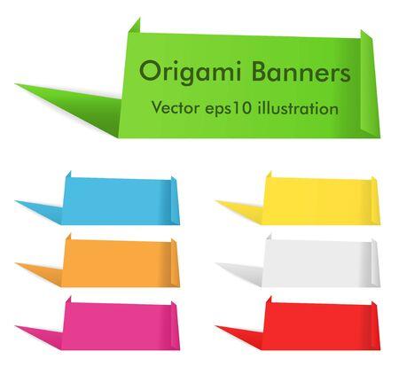 Vector Set of Origami Banners Vector