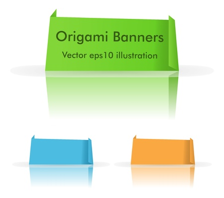Origami banners with reflection Vector