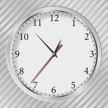 Vector gray wall clock on a metal silver striped background Stock Vector - 10609609