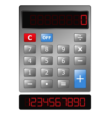 Metal Calculator with Red Digits Stock Vector - 10676587