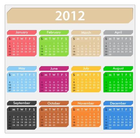 calendar for 2012 year Vector