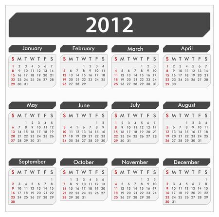 schedulers: calendar for 2012 year