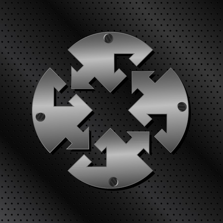 metalic texture: Vector Metal Circle with Arrows Illustration