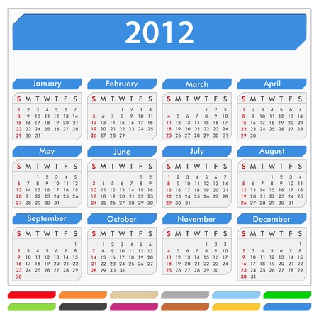 Vector calendar for 2012 year Vector