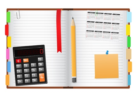 opened: Opened notebook with pencil, calculator, calendar and post-it note Illustration