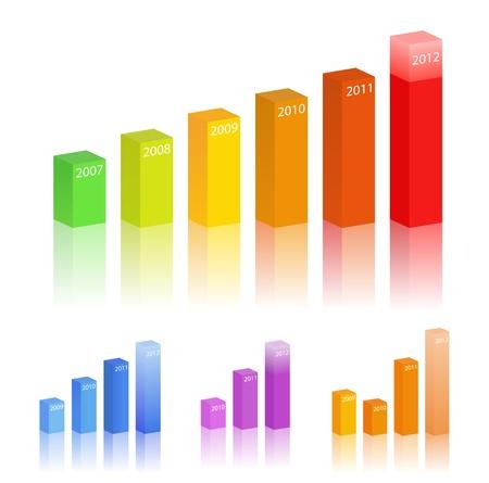 Gráficos de barras de vectores Ilustración de vector