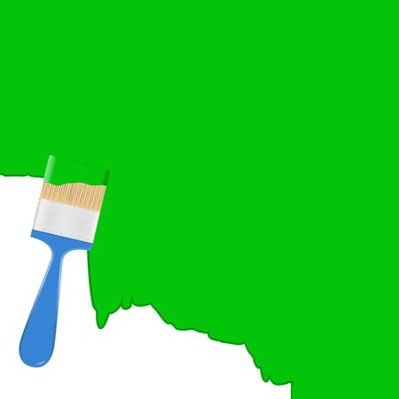 ink drop: Vector green background with blue paintbrush