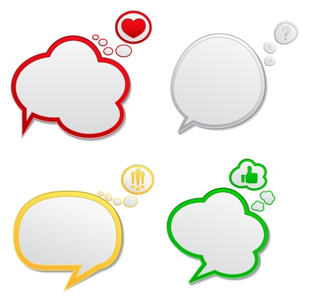 Vector Speech Bubbles with Icons Illustration