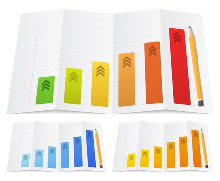 Business graph with a pencil on a folded paper, vector illustration Illustration
