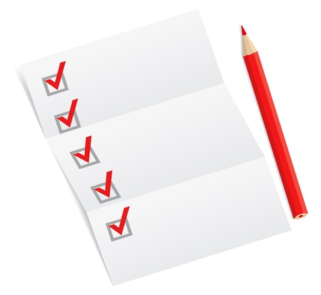 list: Blank checklist with a red pencil