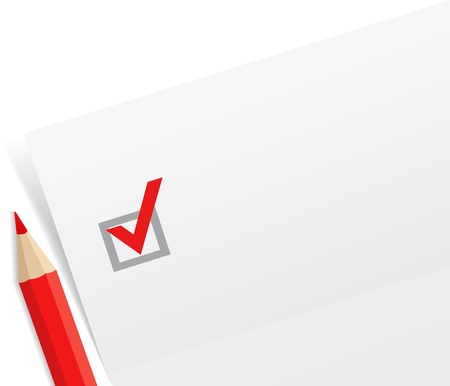 Close-up of checklist with a red pencil Vector
