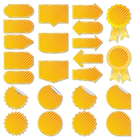 Yellow striped price tags Vector