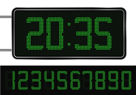 digital numbers: Vector Green Digital Clock