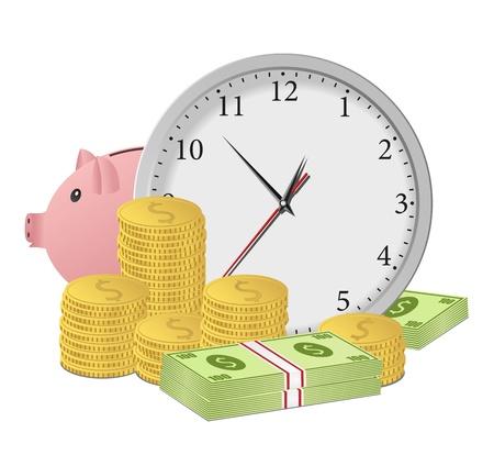 economies: Le temps est argent concept avec l'horloge, tirelire, les billets et pi�ces en euros en dollars. Vecteur eps10 illustration
