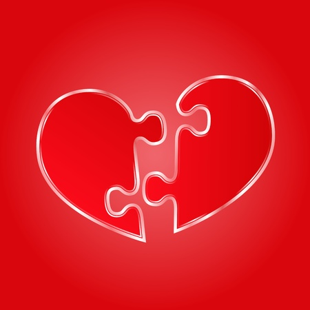 brain game: Red heart made of puzzle pieces Illustration