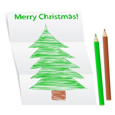 Hand drawn Christmas tree on a folded paper Vector