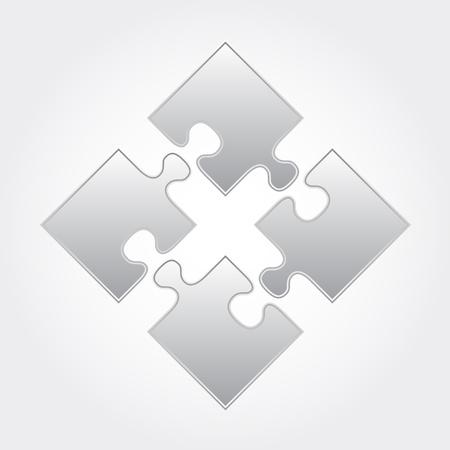 heart puzzle: Vector gray puzzle square