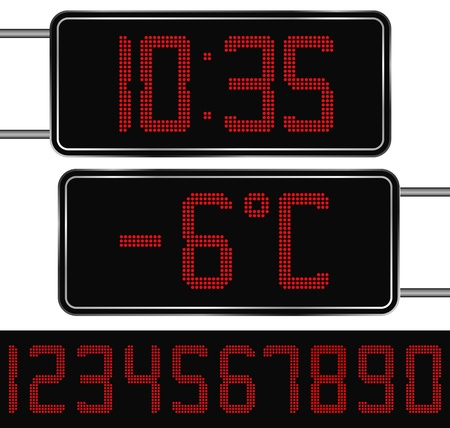 digital thermometer: Vector Red Digital Clock and Thermometer Illustration