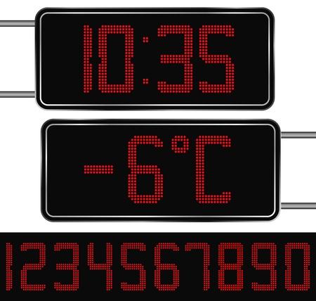 digital thermometer: Vector Red Digital orologio e termometro