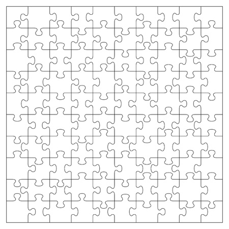 Vector transparent jigsaw puzzle with 100 pieces Vector