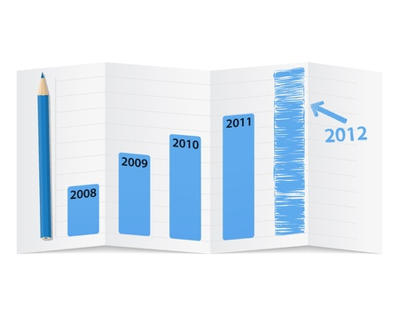 Bar graph on a folded paper, vector illustration Vector