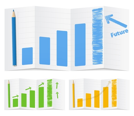 Vector bar graph with arrows, vector illustration Vector