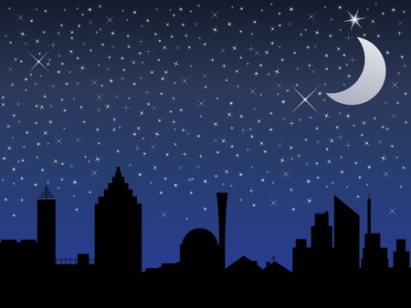 clear sky: Silhouette of the city and night sky with stars and Moon, vector illustration Illustration