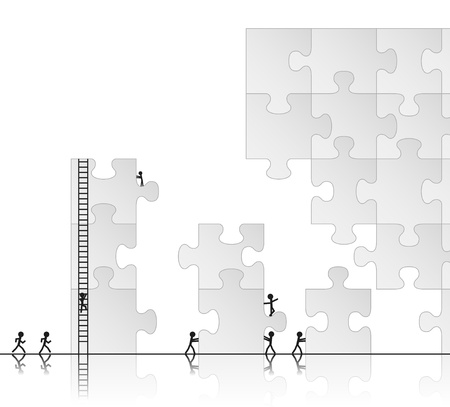 links: Team building a puzzle, vector illustration Illustration