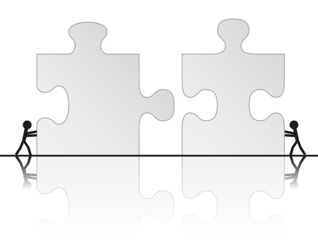 Team building a puzzle, vector illustration Vector