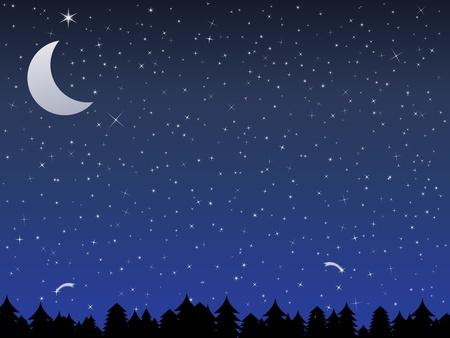 noche estrellada: Silueta de un bosque y el cielo nocturno con las estrellas y la luna, ilustración vectorial Vectores