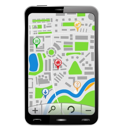 gps device: GPS Navigator in Smartphone, vector illustration