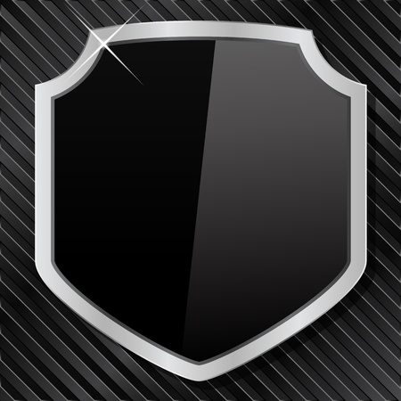 Shield on a black striped metal background Vector