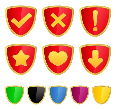 gold plaque: Shields with icons