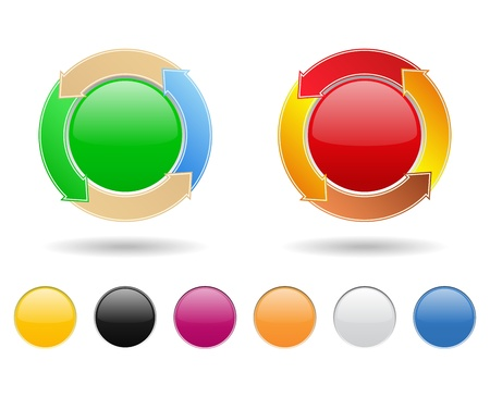 Round buttons with arrows  Stock Vector - 11115869