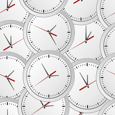 countdown clock: Seamless background with gray wall clocks Illustration