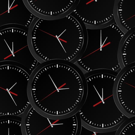 watch movement: Seamless background with black wall clocks