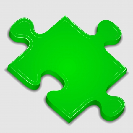 Icon of green puzzle piece Stock Vector - 11205389
