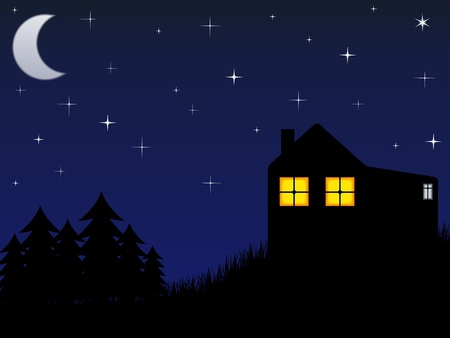 stellate: House near the forest and night sky with stars and moon Illustration
