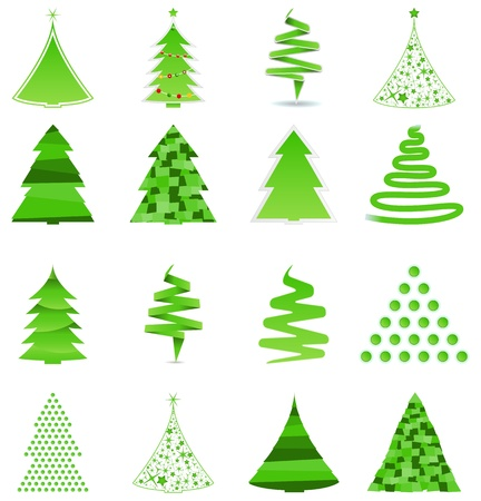 set of asbtract green Christmas trees Vector