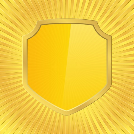 shield on a golden backround Stock Vector - 11365577