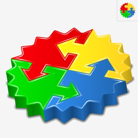 3D puzzle pieces with arrows