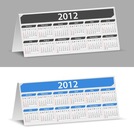 Desk Calendar for 2012 year, transparent shadow Vector