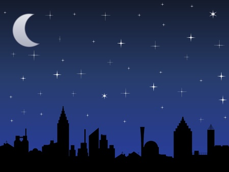 stellate: Silhouette of the city and night sky with stars and Moon